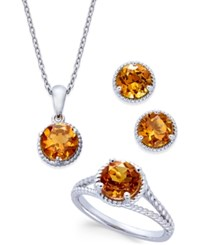 Macy's Citrine Rope Style Pendant Necklace Stud Earrings And Ring Set 4 Ct. T.W. In Sterling Silver Yellow