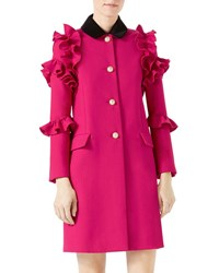 Gucci Wool Flounce Coat Dark Red