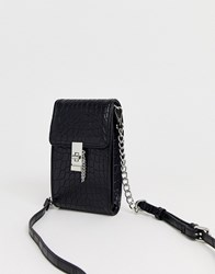 Topshop Mini Croc Crossbody Bag In Black