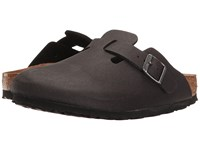 Birkenstock Boston Vegan Anthracite Microfiber Clog Shoes Brown