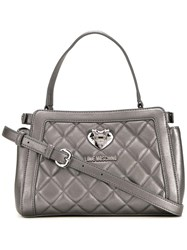 Love Moschino Small Quilted Tote Metallic