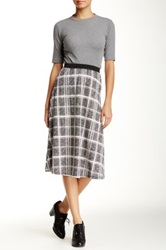 Harlowe And Graham A Line Pattern Knit Midi Skirt Gray