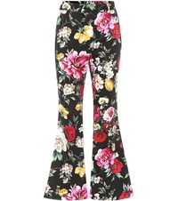 Dolce And Gabbana Floral Printed Cotton Trousers Multicoloured