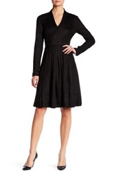 Catherine Malandrino Faux Suede Long Sleeve Fit And Flare Dress Black