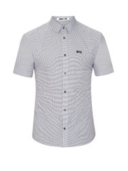 Mcq By Alexander Mcqueen Harness Checked Short Sleeved Cotton Poplin Shirt White Black