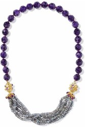 Bounkit Gold Tone Beaded Necklace Dark Purple