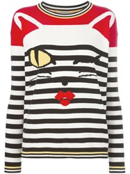 Ermanno Scervino Cat Intarsia Striped Jumper Black