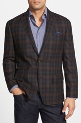Wallin And Bros Trim Fit Plaid Wool Sport Coat Brown
