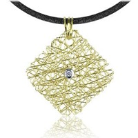 Orlando Orlandini Central Diamond 18K Yellow Gold Pendant W Lace