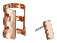 French Connection Rectangle Bar Single Earrings Cuff Set Rose Gold Earring