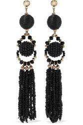 Iris And Ink Margrethe 18 Karat Gold Plated Sterling Silver Beaded Cord Earrings Black