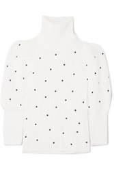 Paper London Embroidered Ribbed Wool Sweater Cream