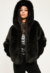 Missguided Black Hooded Faux Fur Short Coat