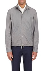 Herno Men's Drawstring Hem Leather Jacket Grey