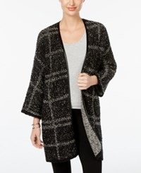 Jm Collection Faux Leather Trim Plaid Cardigan Only At Macy's Grey Black Combo