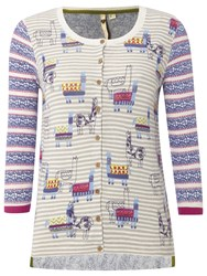 White Stuff Dancing Llamas Cardigan Multi