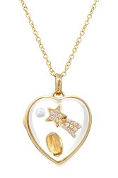Loquet 14Kt Heart Locket With Citrine Pearl And Diamonds Multicolor