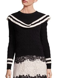 Red Valentino Cable Knit Sweater Nero Panna