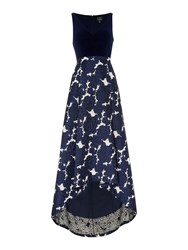 Adrianna Papell Jersey Top Jacquard High Low Gown Navy