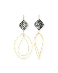 Devon Leigh Pearlescent Wave Drop Earrings Gold