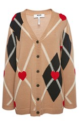 Msgm Argyle Heart Cardigan Neutral