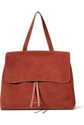Mansur Gavriel Lady Leather Trimmed Suede Tote Brick