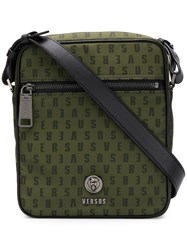 Versus Logo Zipped Messenger Bag Green
