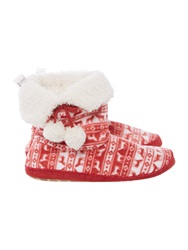 Therapy Fairisle Printed Fleece Booties Red