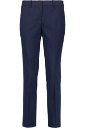 Michael Kors Collection Samantha Wool Blend Twill Slim Leg Pants Storm Blue