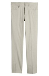 Monte Rosso Flat Front Stretch Linen And Cotton Trousers Light Grey