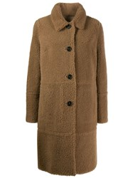 Yves Salomon Shearling Button Up Coat Neutrals