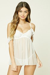 Forever 21 Lace Slip And Thong Panty Set