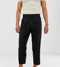 Noak Wide Leg Smart Trousers In Black Beige