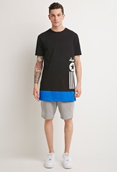 Forever 21 Dope Graphic Mesh Paneled Tee Black Blue