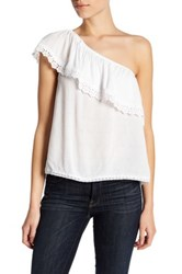 Jolt One Shoulder Ruffle Shirt White