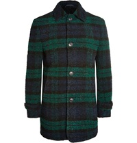 Officine Generale Checked Wool Blend Boucle Overcoat Blue