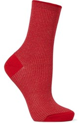 Maria La Rosa Ribbed Metallic Wool Blend Socks Red