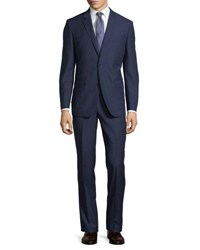Neiman Marcus Two Button Textured Two Piece Suit Navy