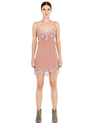 Pink Memories Silk Crepe Dress With Lace