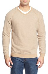 Men's Tommy Bahama 'Make Mine A Double' Reversible Pima Cotton V Neck Sweater Light Coffee Bean