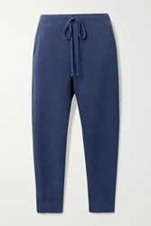 Nili Lotan Nolan Cropped Distressed Cotton Jersey Track Pants Storm Blue