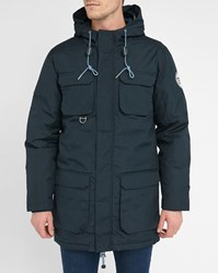 Knowledge Cotton Apparel Navy Pr Padded Hooded Parka