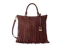 Frye Heidi Fringe Tote Plum Soft Vintage Leather Tote Handbags Brown