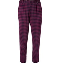 Gucci Marco Slim Fit Pleated Houndstooth Woven Suit Trousers Red