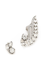 Ben Amun Asymmetrical Crystal Earrings Silver Clear
