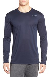 Nike Men's 'Legend 2.0' Long Sleeve Dri Fit Training T Shirt Obsidian Black Matte Silver