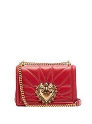 Dolce And Gabbana Devotion Quilted Leather Cross Body Bag Red