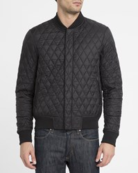 Armani Jeans Black Ribbed Quilted Bomber Jacket
