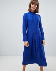 Mango Snake Print Midi Dress In Blue