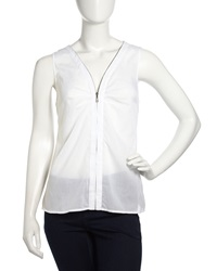 Laundry By Shelli Segal Sleeveless Zip Front Chiffon Top Optic White